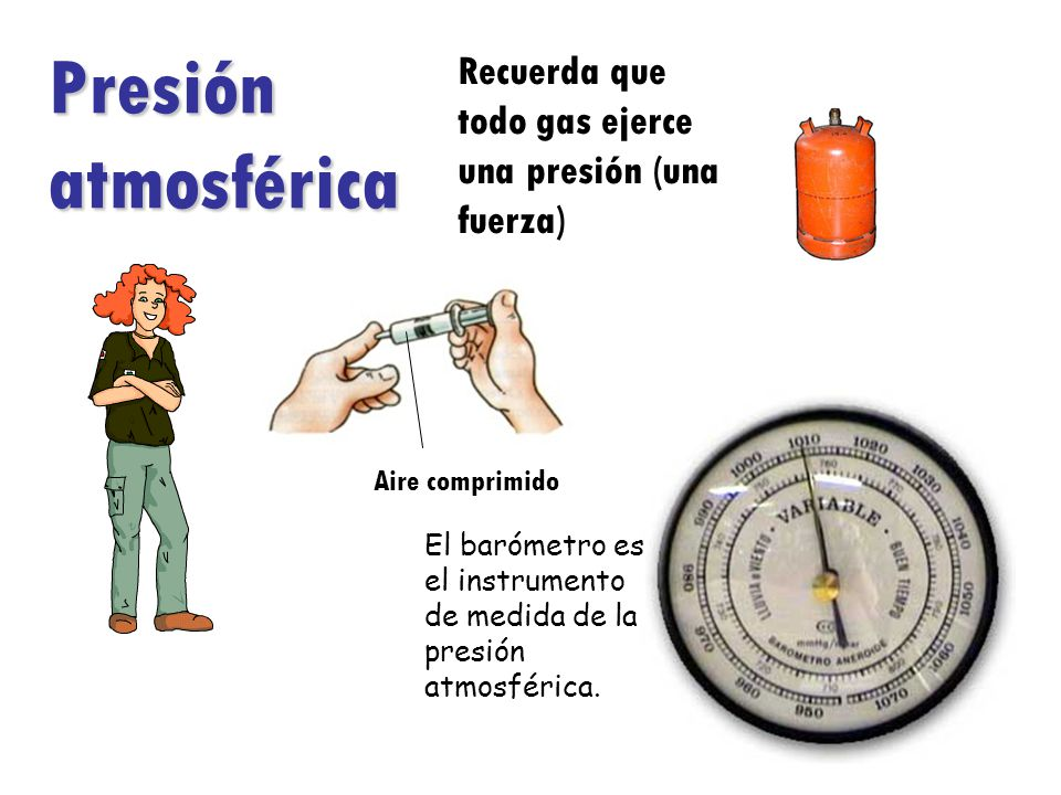 Presión atmosférica Recuerda que todo gas ejerce una presión (una fuerza) Aire comprimido.
