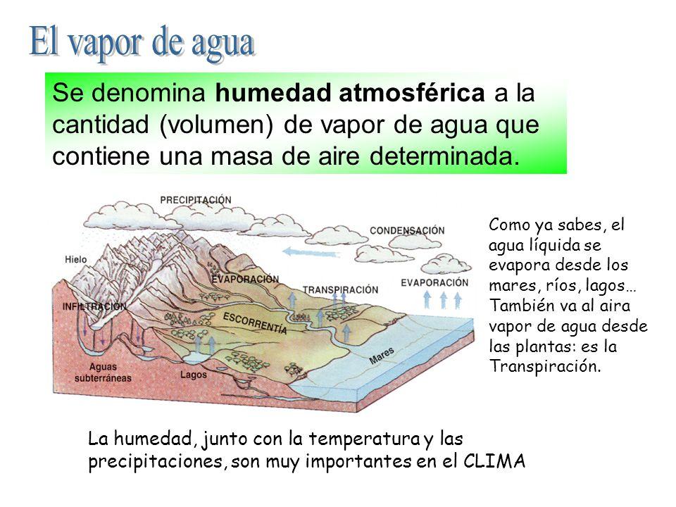 El vapor de agua Se denomina humedad atmosférica a la cantidad (volumen) de vapor de agua que contiene una masa de aire determinada.
