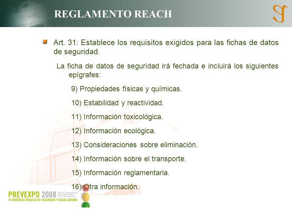 REGLAMENTO REACH Art. 31: Establece los requisitos exigidos para las fichas de datos de seguridad.