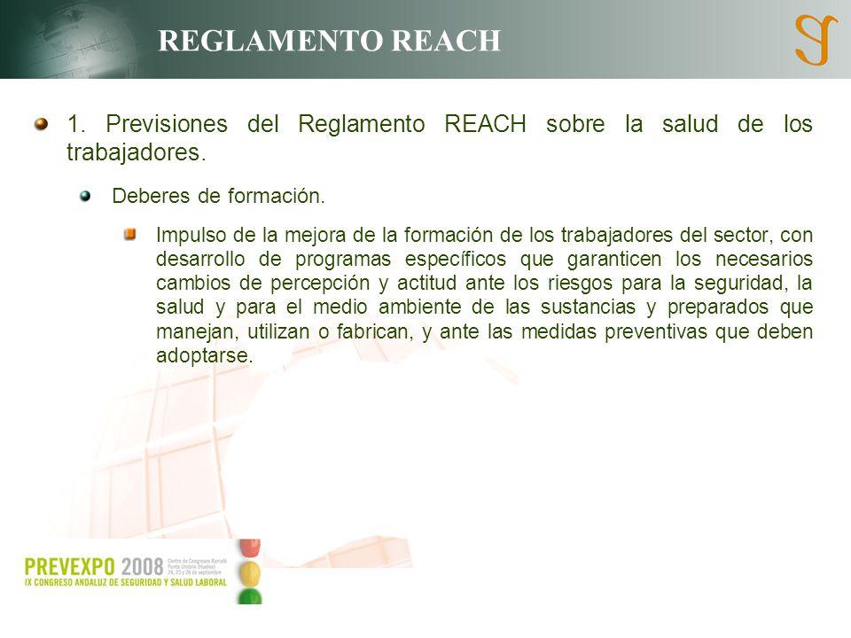 REGLAMENTO REACH 1. Previsiones del Reglamento REACH sobre la salud de los trabajadores. Deberes de formación.