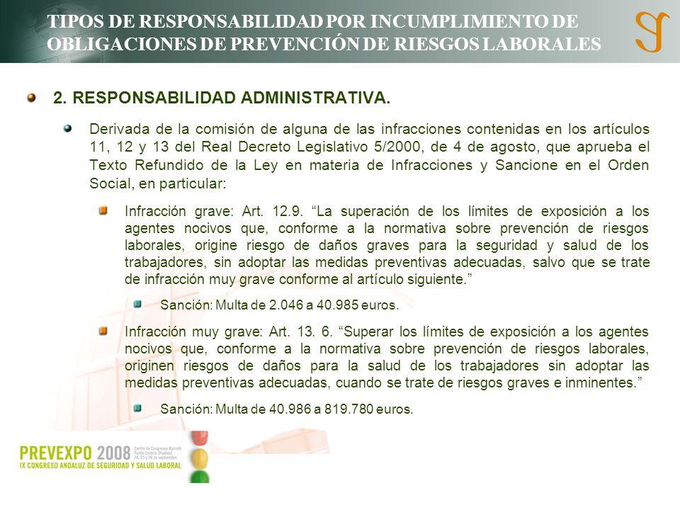 TIPOS DE RESPONSABILIDAD POR INCUMPLIMIENTO DE OBLIGACIONES DE PREVENCIÓN DE RIESGOS LABORALES