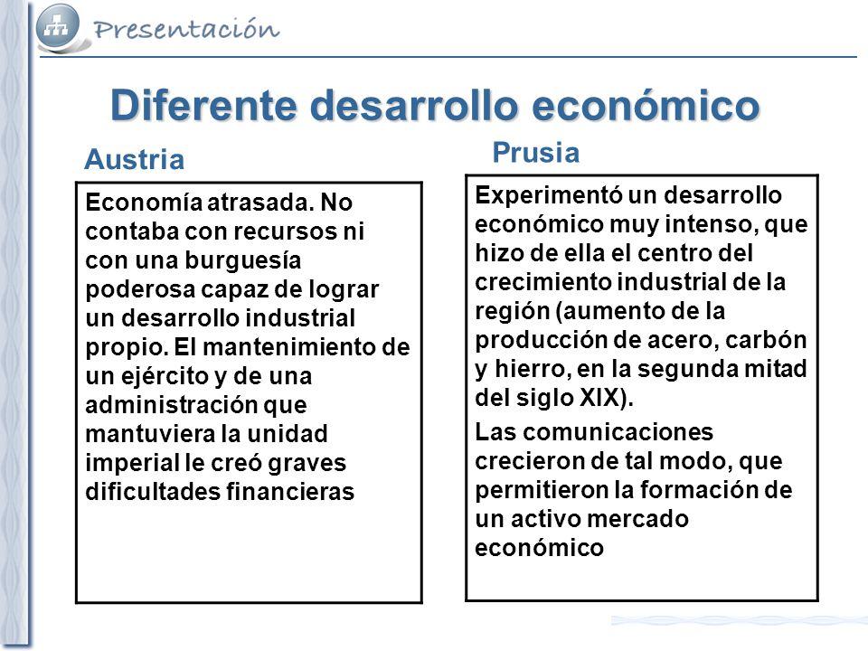 Diferente desarrollo económico