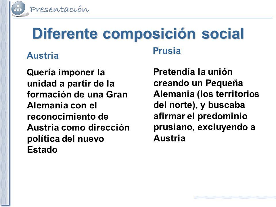 Diferente composición social