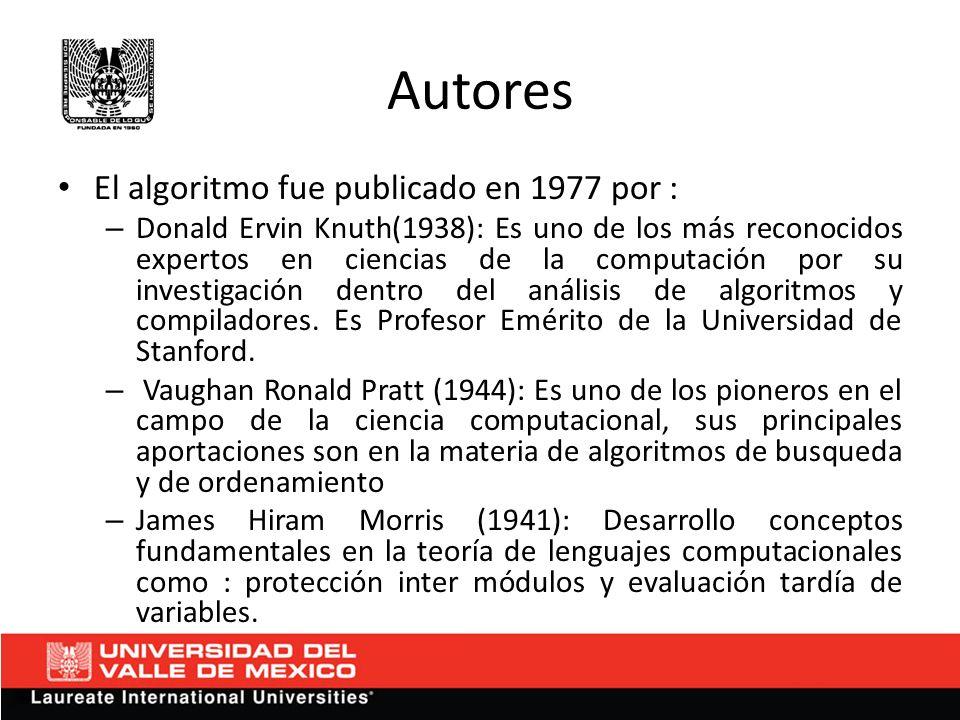 Autores El algoritmo fue publicado en 1977 por :