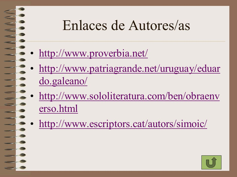 Enlaces de Autores/as http://www.proverbia.net/