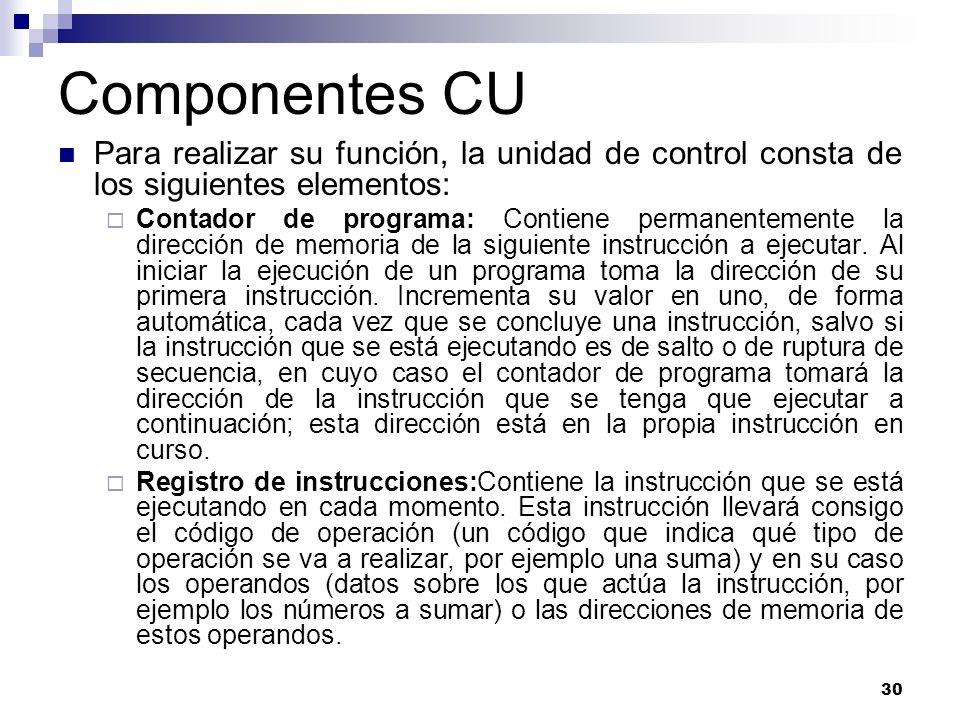 Componentes CU Para realizar su función, la unidad de control consta de los siguientes elementos: