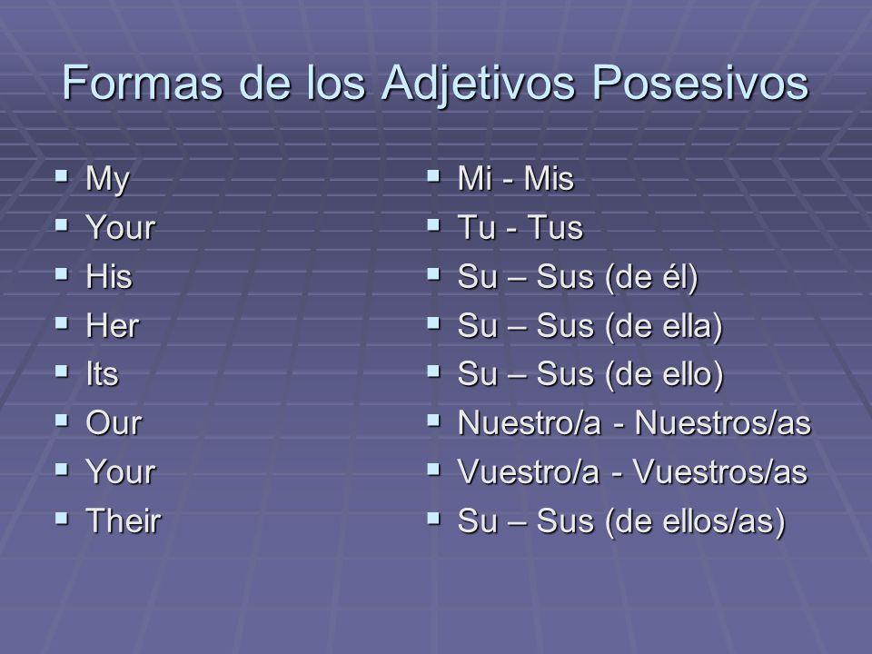 Formas de los Adjetivos Posesivos