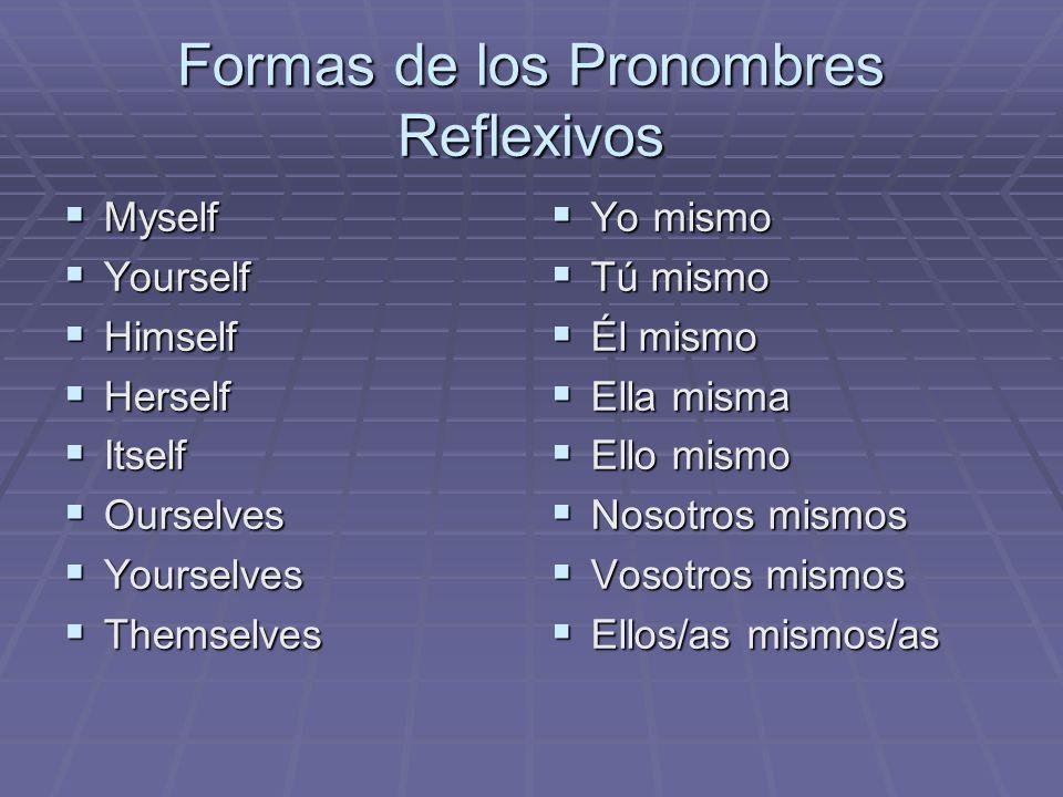 Formas de los Pronombres Reflexivos