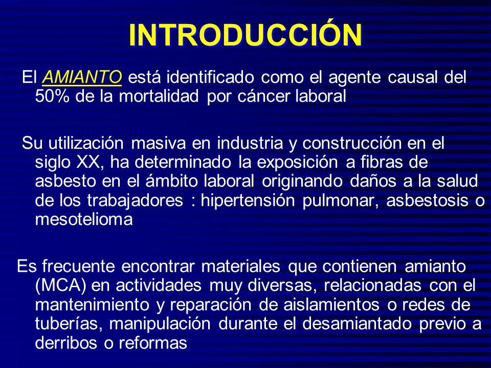 INTRODUCCIÓN El AMIANTO está identificado como el agente causal del 50% de la mortalidad por cáncer laboral.
