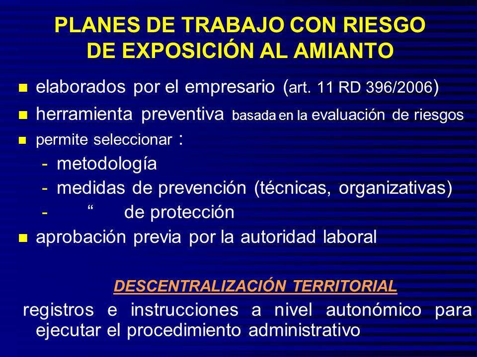 PLANES DE TRABAJO CON RIESGO DE EXPOSICIÓN AL AMIANTO