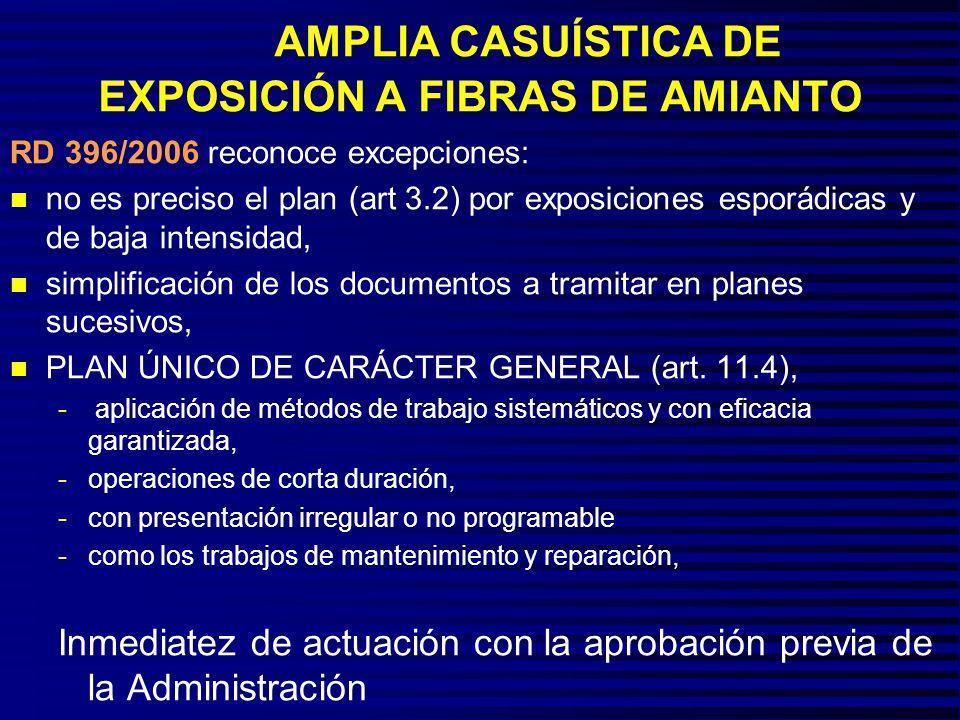 AMPLIA CASUÍSTICA DE EXPOSICIÓN A FIBRAS DE AMIANTO
