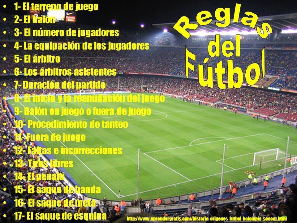Reglas del Fútbol 1- El terreno de juego 2- El balón