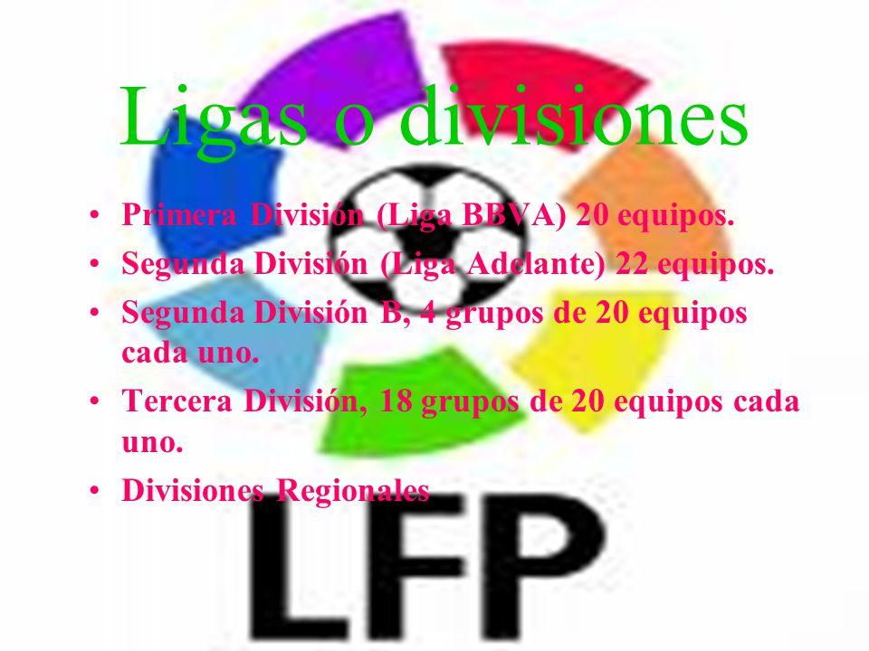 Ligas o divisiones Primera División (Liga BBVA) 20 equipos.