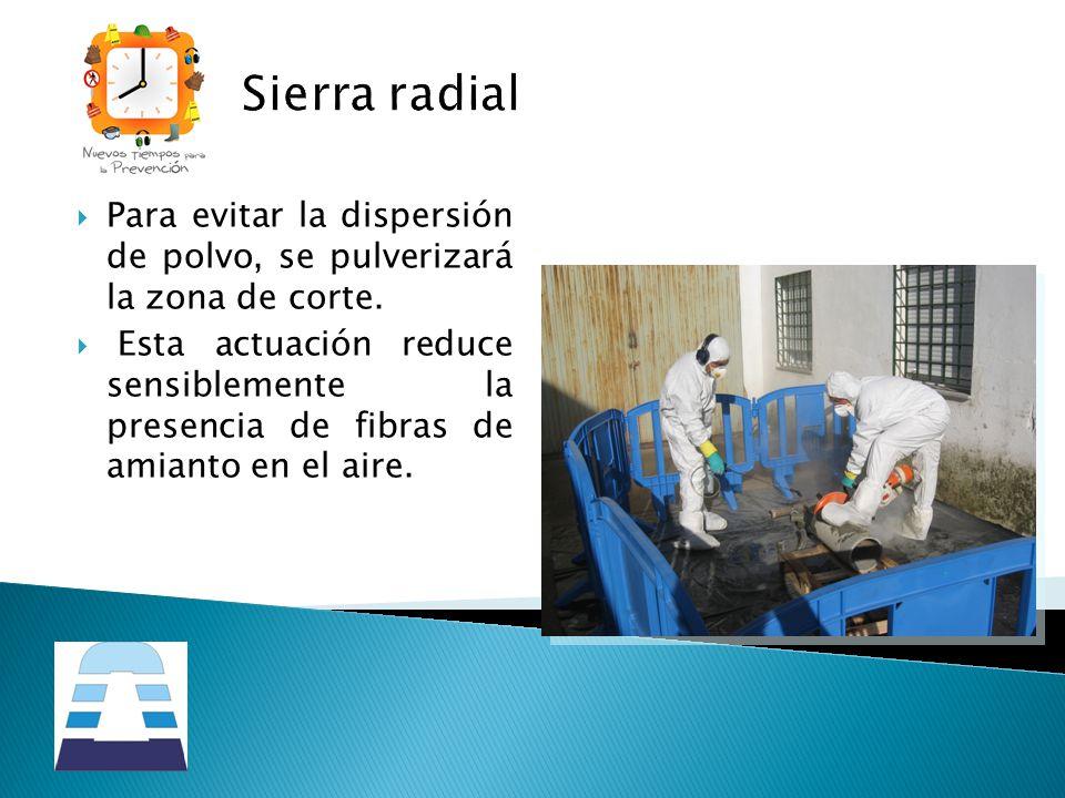 Sierra radial Para evitar la dispersión de polvo, se pulverizará la zona de corte.