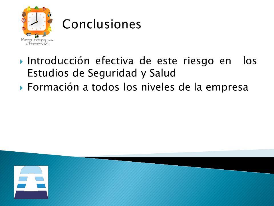 Conclusiones Introducción efectiva de este riesgo en los Estudios de Seguridad y Salud.