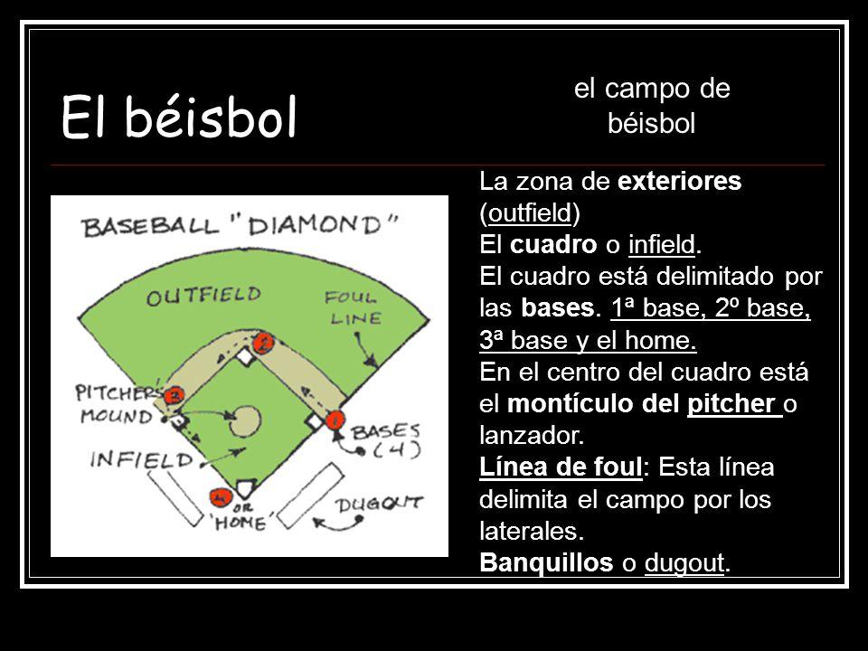El béisbol el campo de béisbol La zona de exteriores (outfield)