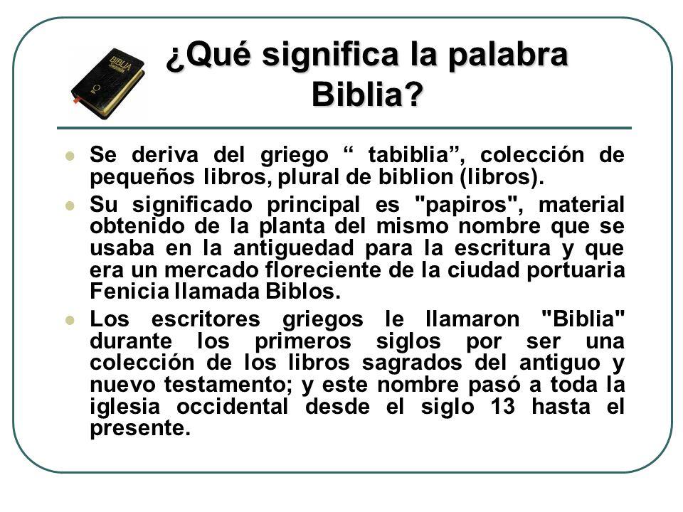 ¿Qué significa la palabra Biblia