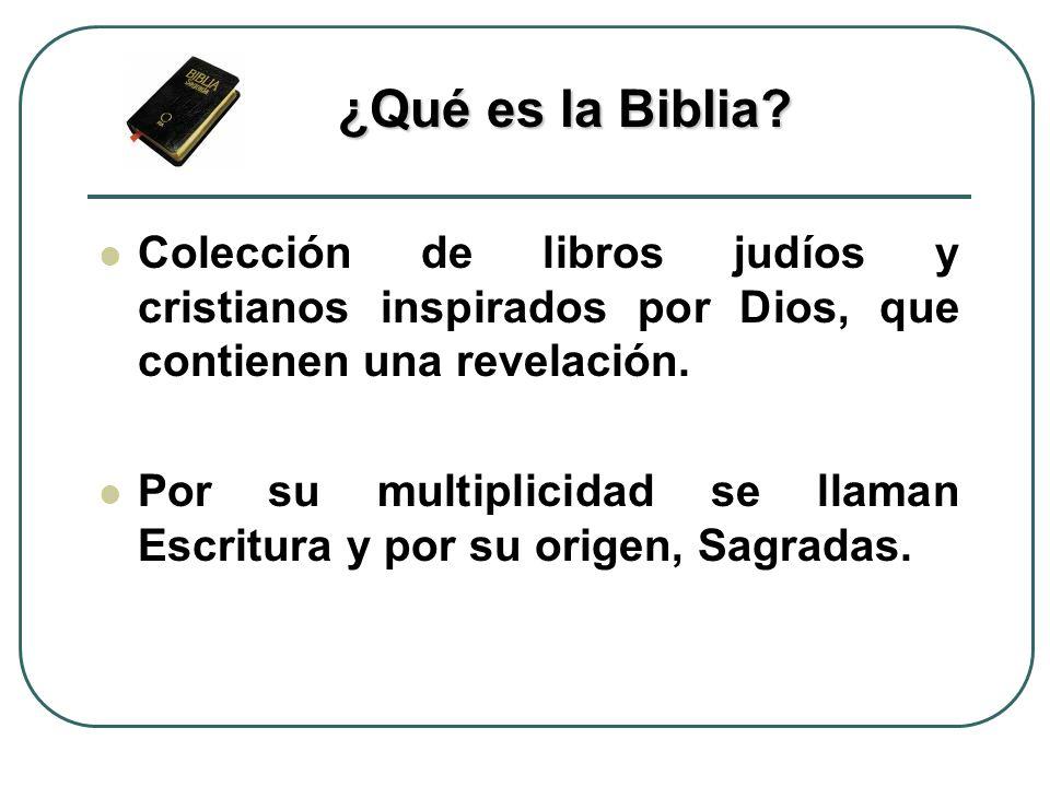 ¿Qué es la Biblia Colección de libros judíos y cristianos inspirados por Dios, que contienen una revelación.
