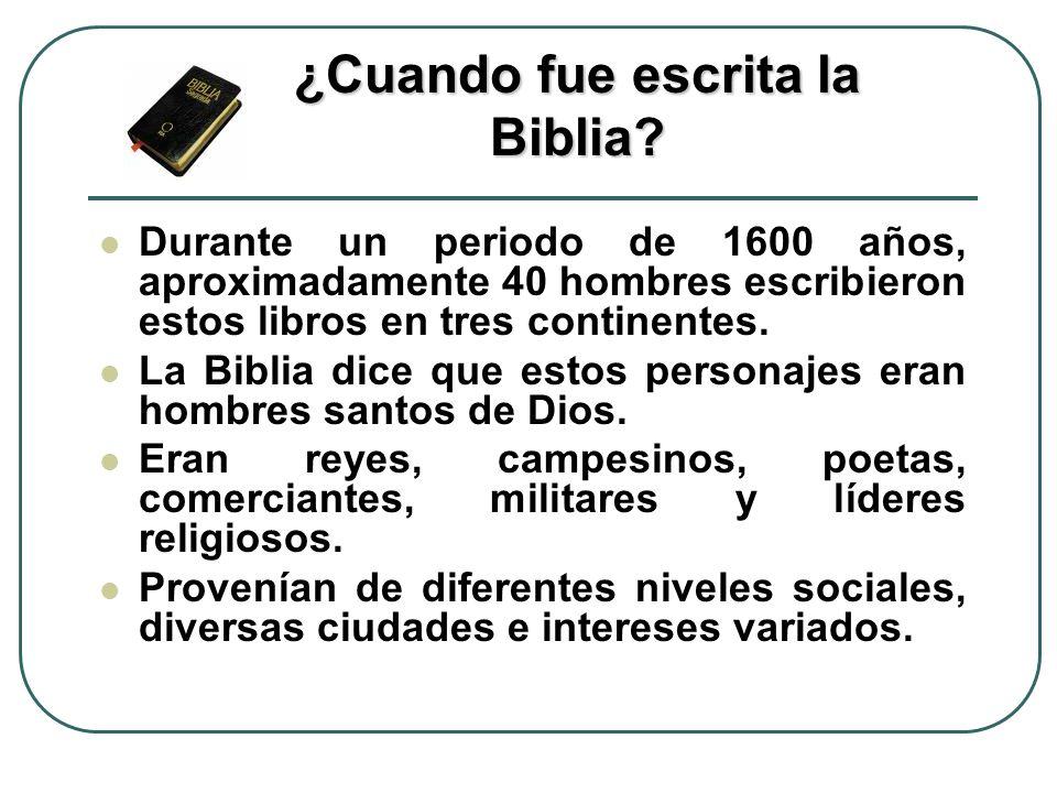 ¿Cuando fue escrita la Biblia