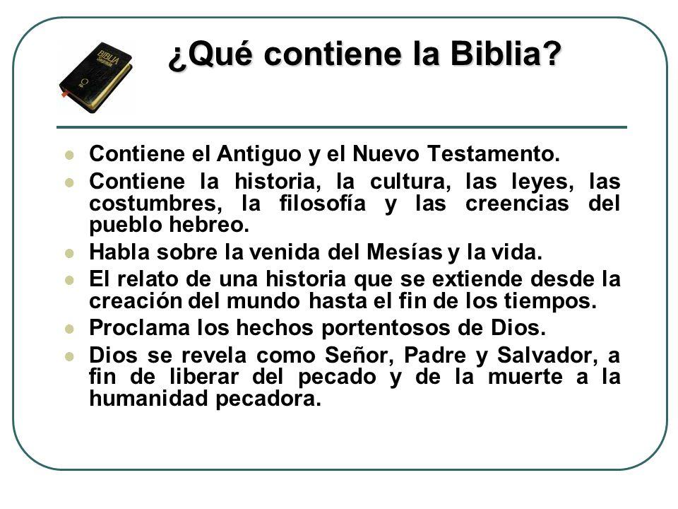 ¿Qué contiene la Biblia