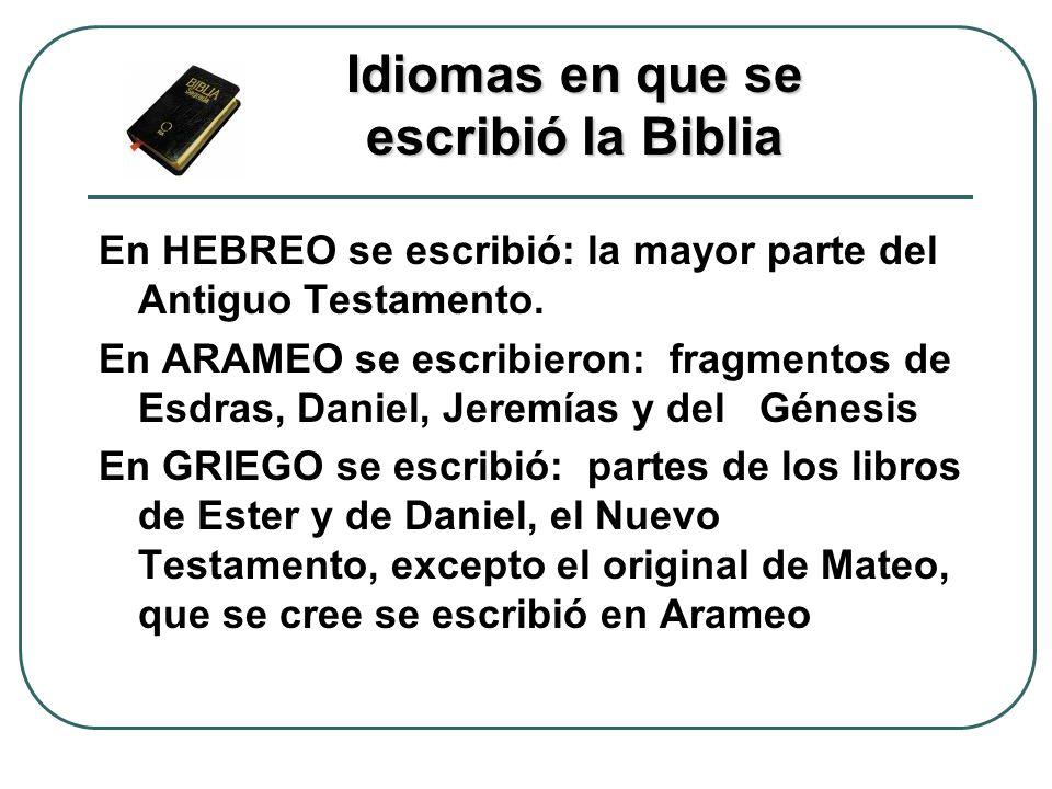 Idiomas en que se escribió la Biblia