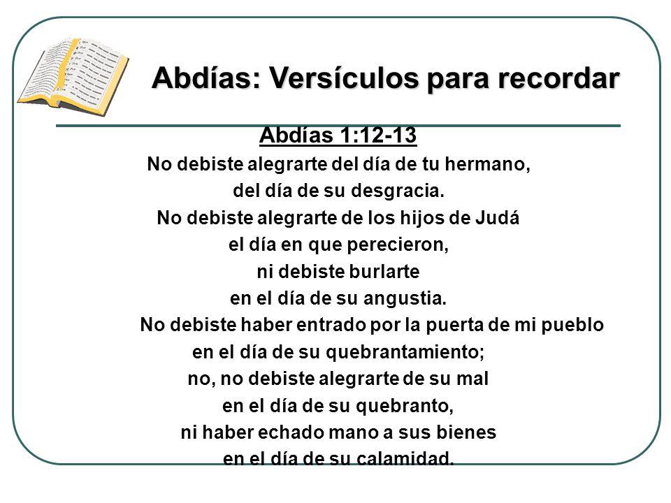 Abdías: Versículos para recordar