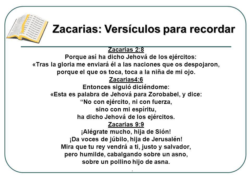 Zacarias: Versículos para recordar