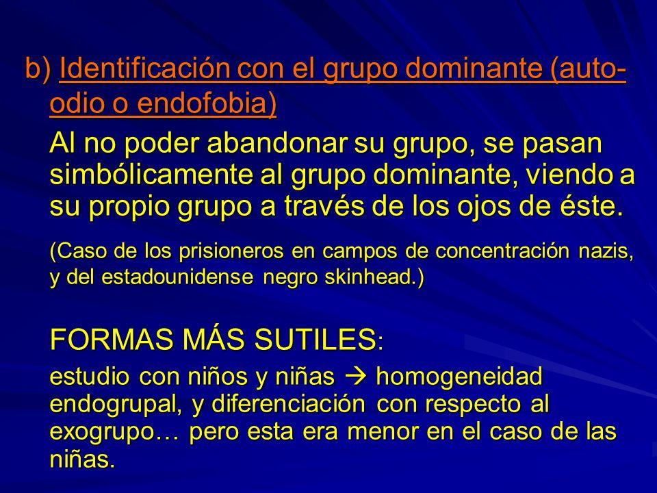 b) Identificación con el grupo dominante (auto-odio o endofobia)