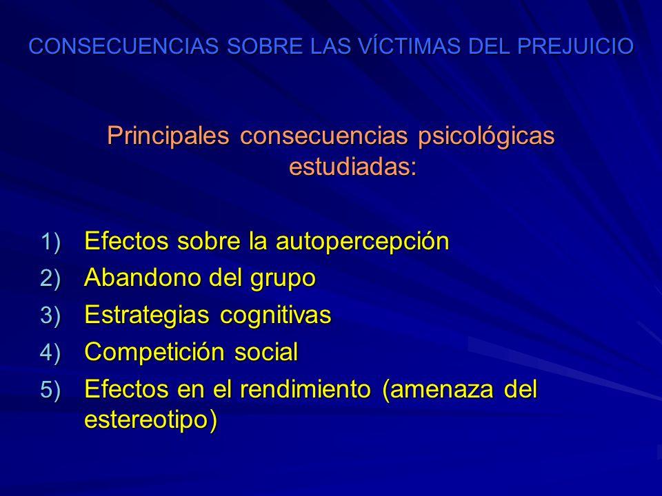 CONSECUENCIAS SOBRE LAS VÍCTIMAS DEL PREJUICIO