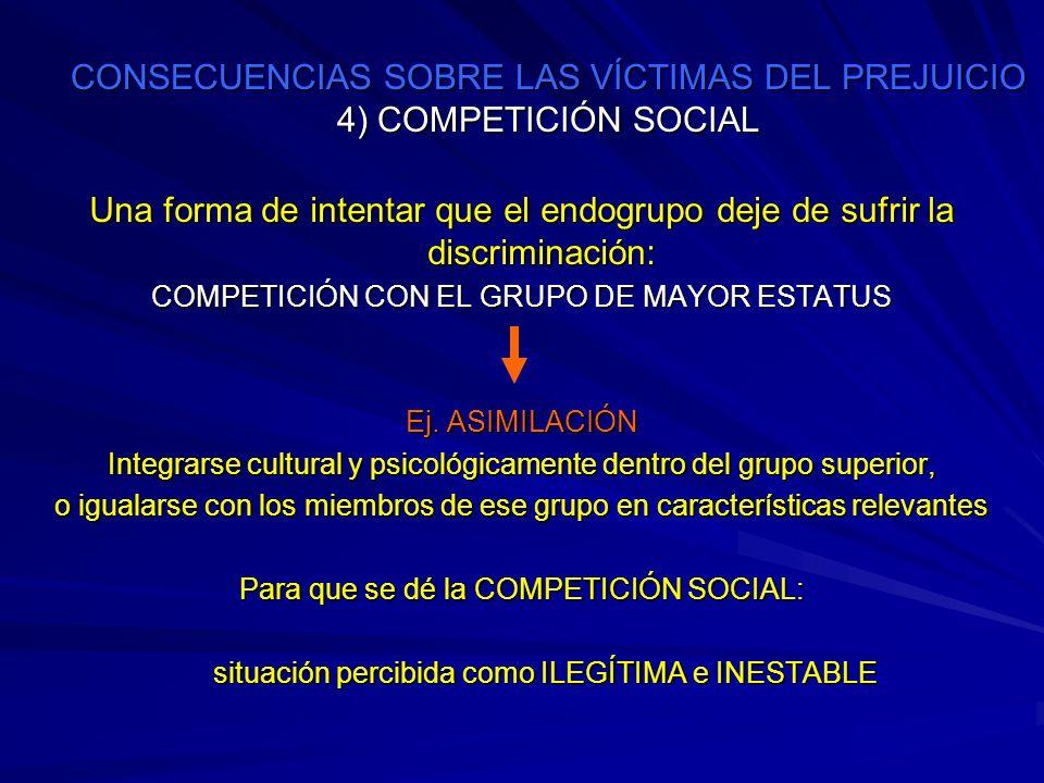 CONSECUENCIAS SOBRE LAS VÍCTIMAS DEL PREJUICIO 4) COMPETICIÓN SOCIAL