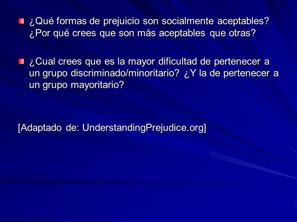 ¿Qué formas de prejuicio son socialmente aceptables