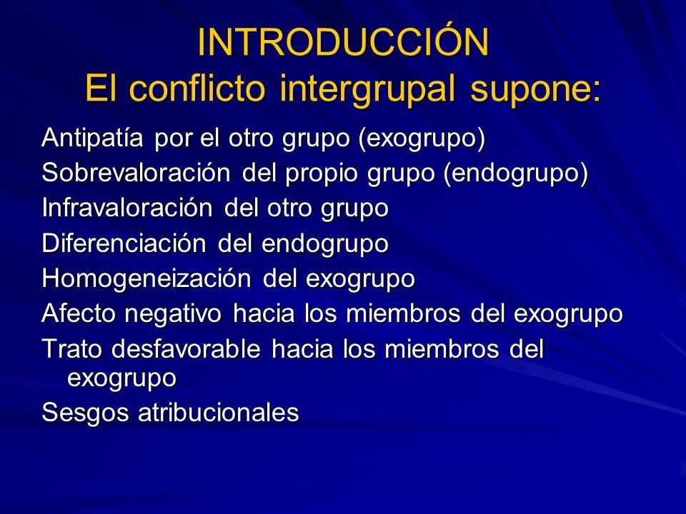 INTRODUCCIÓN El conflicto intergrupal supone: