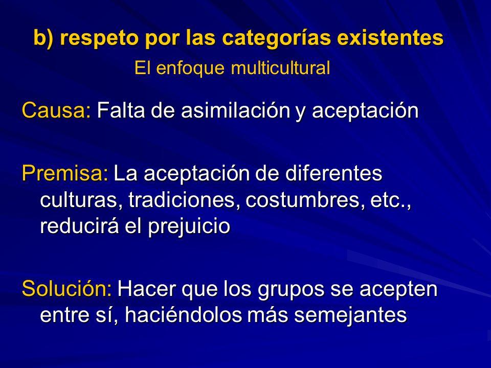 b) respeto por las categorías existentes