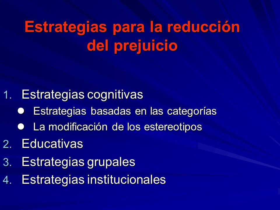 Estrategias para la reducción del prejuicio