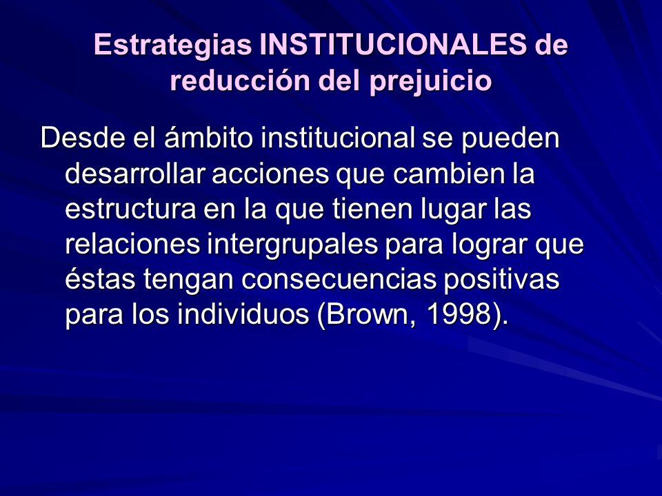 Estrategias INSTITUCIONALES de reducción del prejuicio