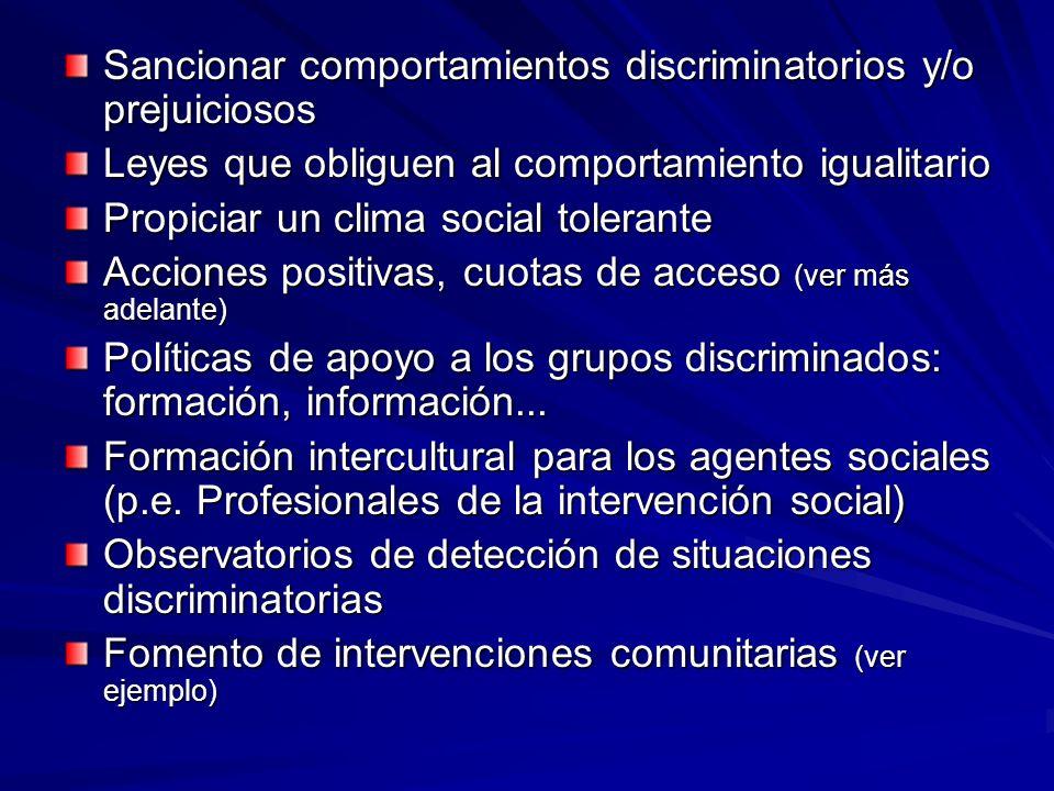 Sancionar comportamientos discriminatorios y/o prejuiciosos