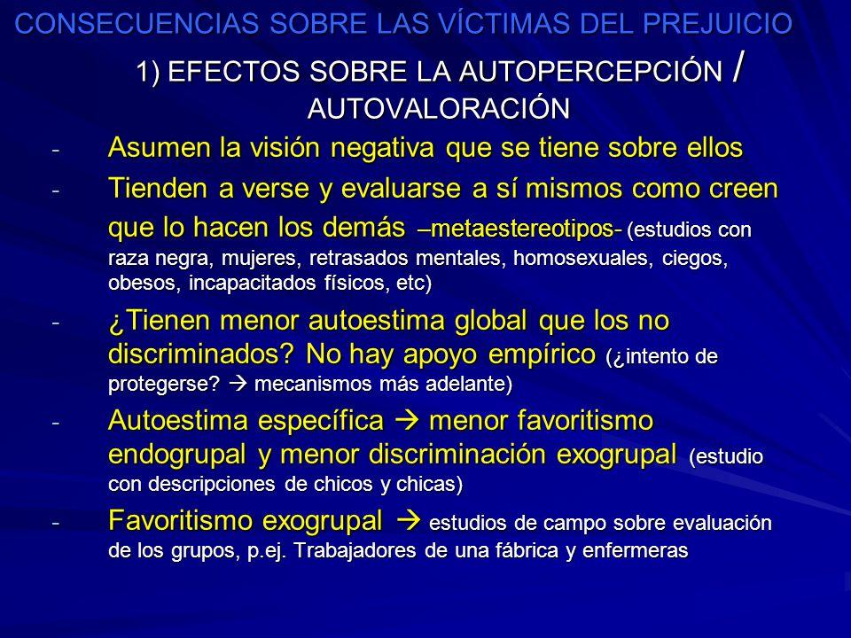 CONSECUENCIAS SOBRE LAS VÍCTIMAS DEL PREJUICIO 1) EFECTOS SOBRE LA AUTOPERCEPCIÓN / AUTOVALORACIÓN