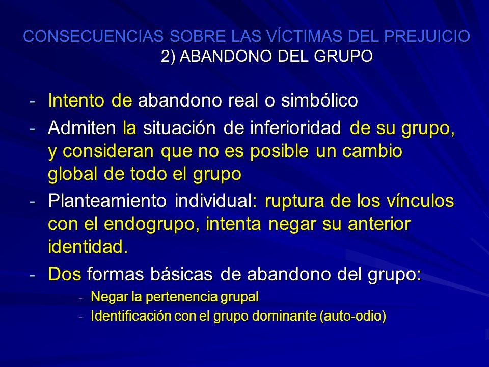 CONSECUENCIAS SOBRE LAS VÍCTIMAS DEL PREJUICIO 2) ABANDONO DEL GRUPO