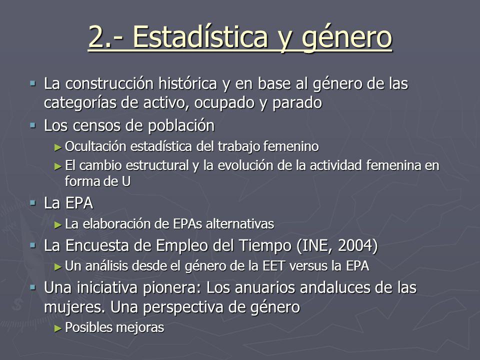 2.- Estadística y género La construcción histórica y en base al género de las categorías de activo, ocupado y parado.