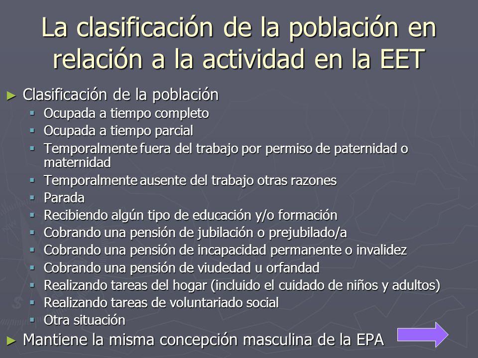 La clasificación de la población en relación a la actividad en la EET