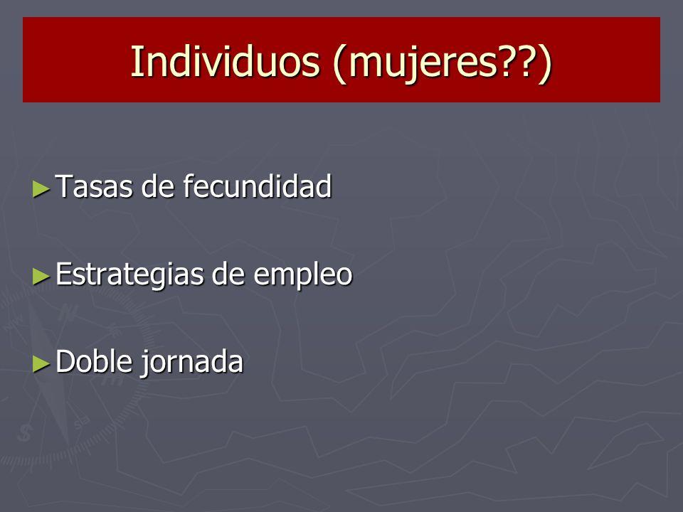 Individuos (mujeres ) Tasas de fecundidad Estrategias de empleo