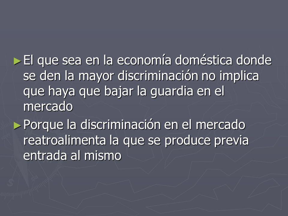 El que sea en la economía doméstica donde se den la mayor discriminación no implica que haya que bajar la guardia en el mercado