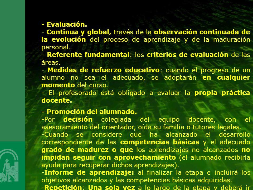 - Evaluación. - Continua y global, través de la observación continuada de la evolución del proceso de aprendizaje y de la maduración personal.