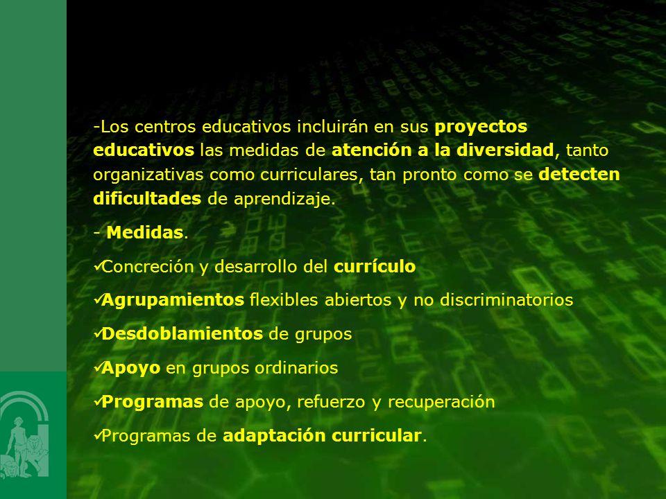 Los centros educativos incluirán en sus proyectos educativos las medidas de atención a la diversidad, tanto organizativas como curriculares, tan pronto como se detecten dificultades de aprendizaje.