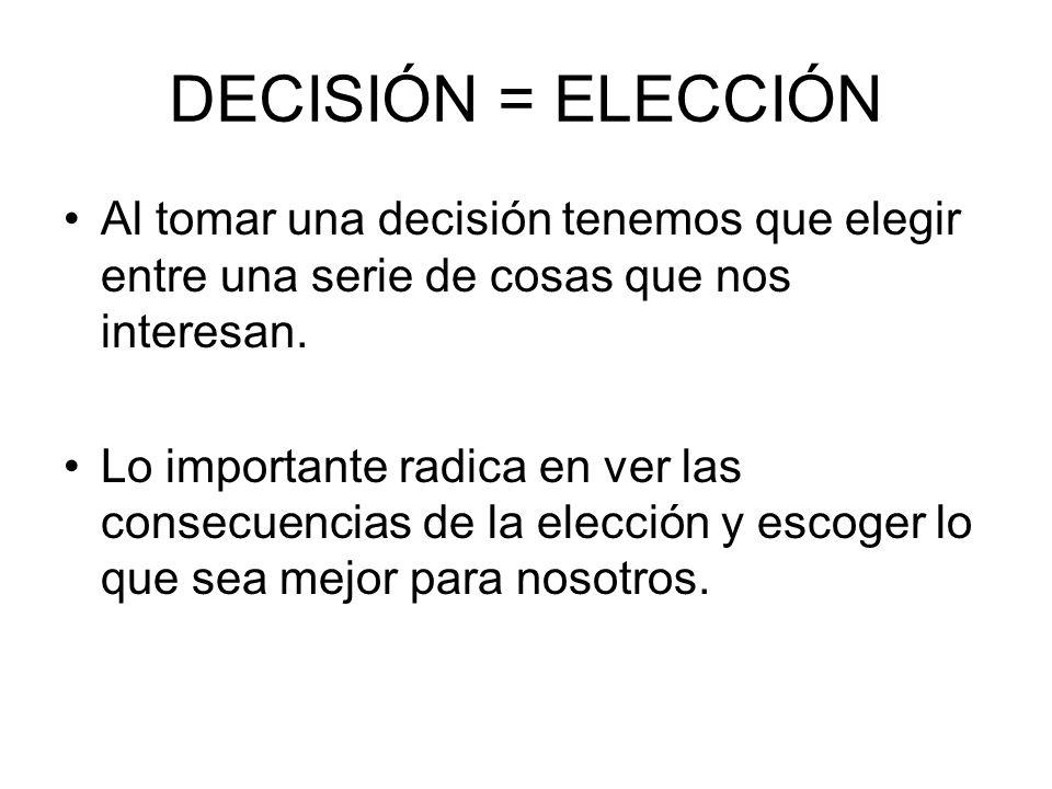 DECISIÓN = ELECCIÓN Al tomar una decisión tenemos que elegir entre una serie de cosas que nos interesan.