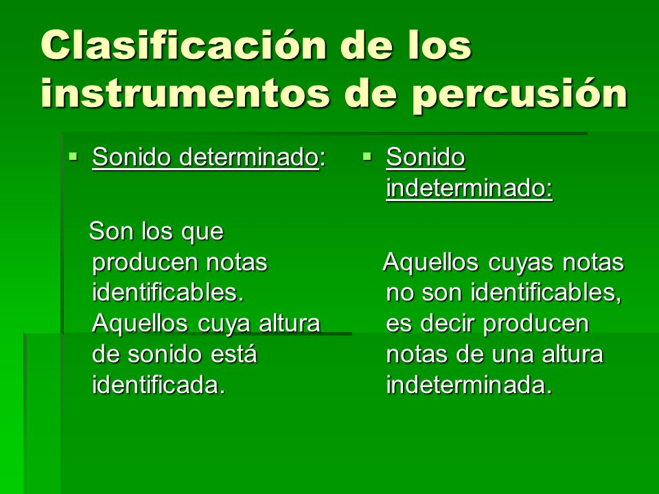 Clasificación de los instrumentos de percusión