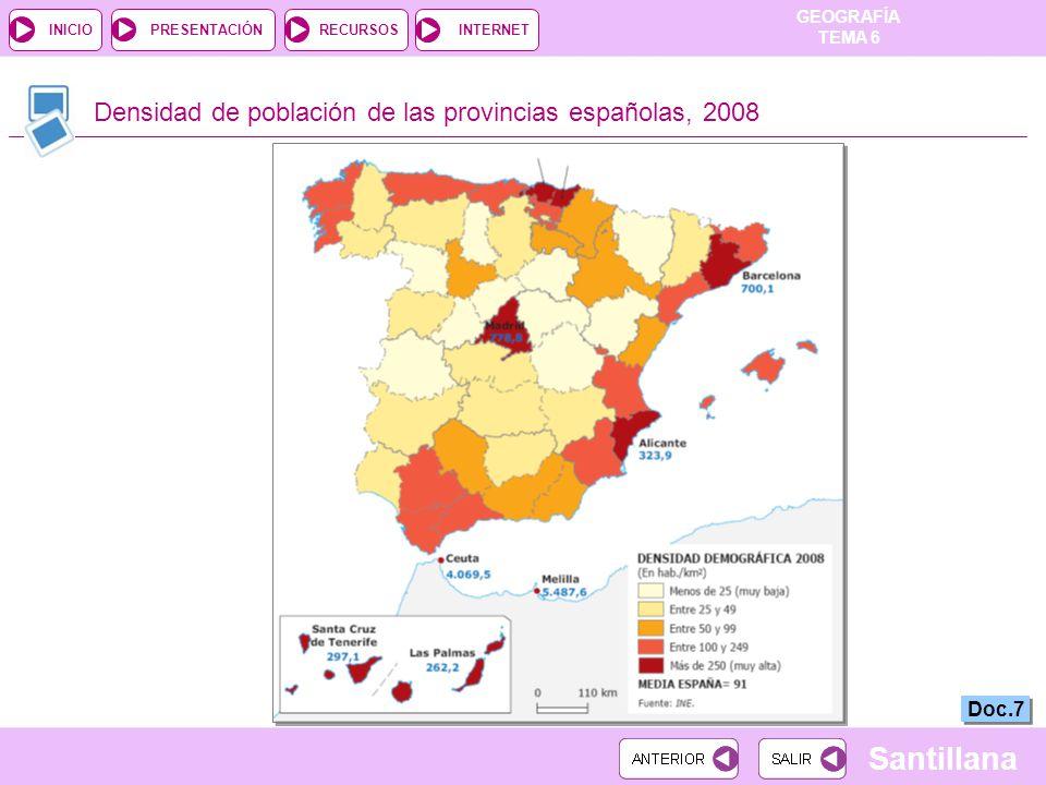Densidad de población de las provincias españolas, 2008