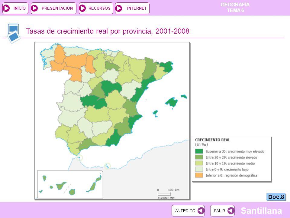Tasas de crecimiento real por provincia, 2001-2008