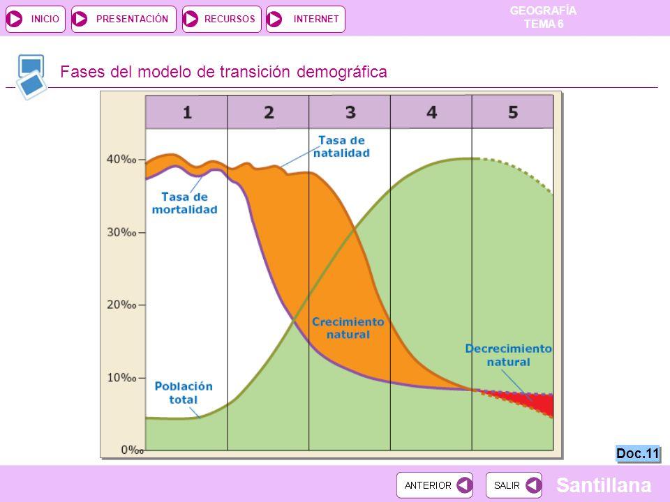 Fases del modelo de transición demográfica