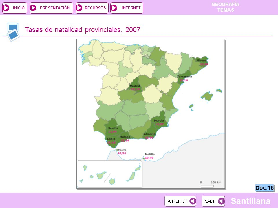 Tasas de natalidad provinciales, 2007